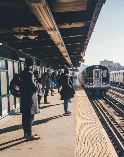 A suburban commuter train station