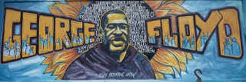 Memorial mural to George Floyd from Space race to race riots