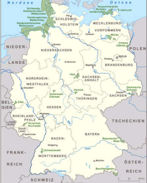 map of Germany with major rivers